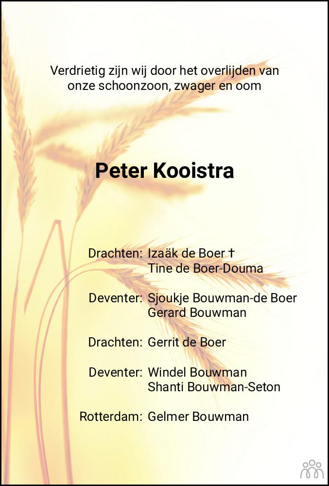 Overlijdensbericht van Peter Kooistra in Friesch Dagblad