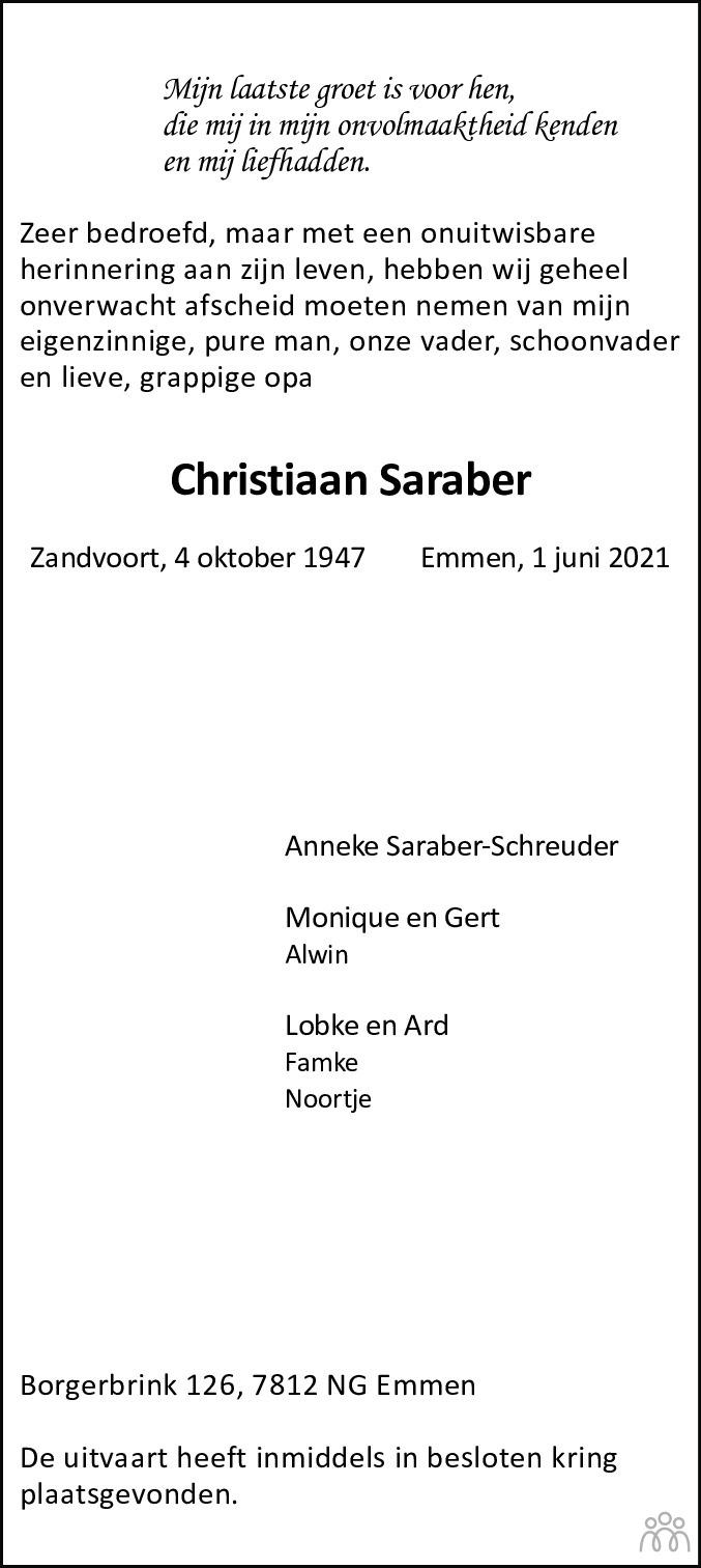 Overlijdensbericht van Christiaan Saraber in Coevorden Huis aan Huis
