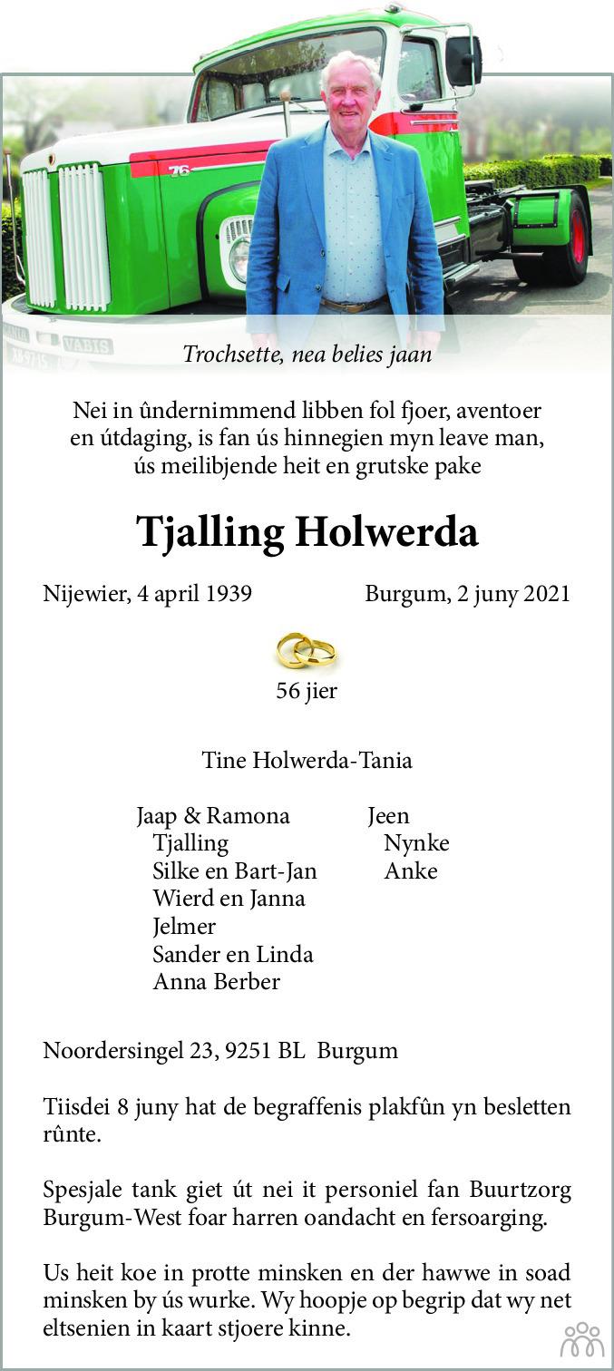 Overlijdensbericht van Tjalling Holwerda in Nieuwsblad Noordoost-Friesland