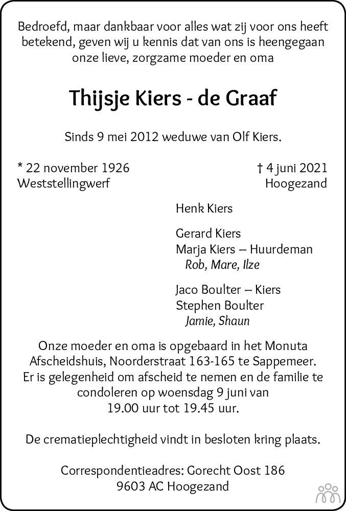 Overlijdensbericht van Thijsje Kiers-de Graaf in Dagblad van het Noorden