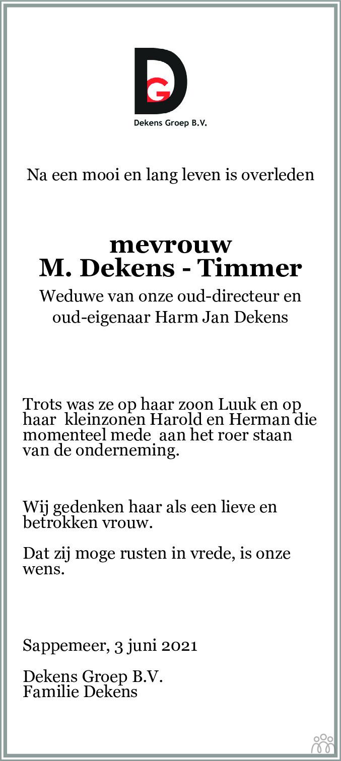 Overlijdensbericht van Maria Dekens-Timmer in Dagblad van het Noorden