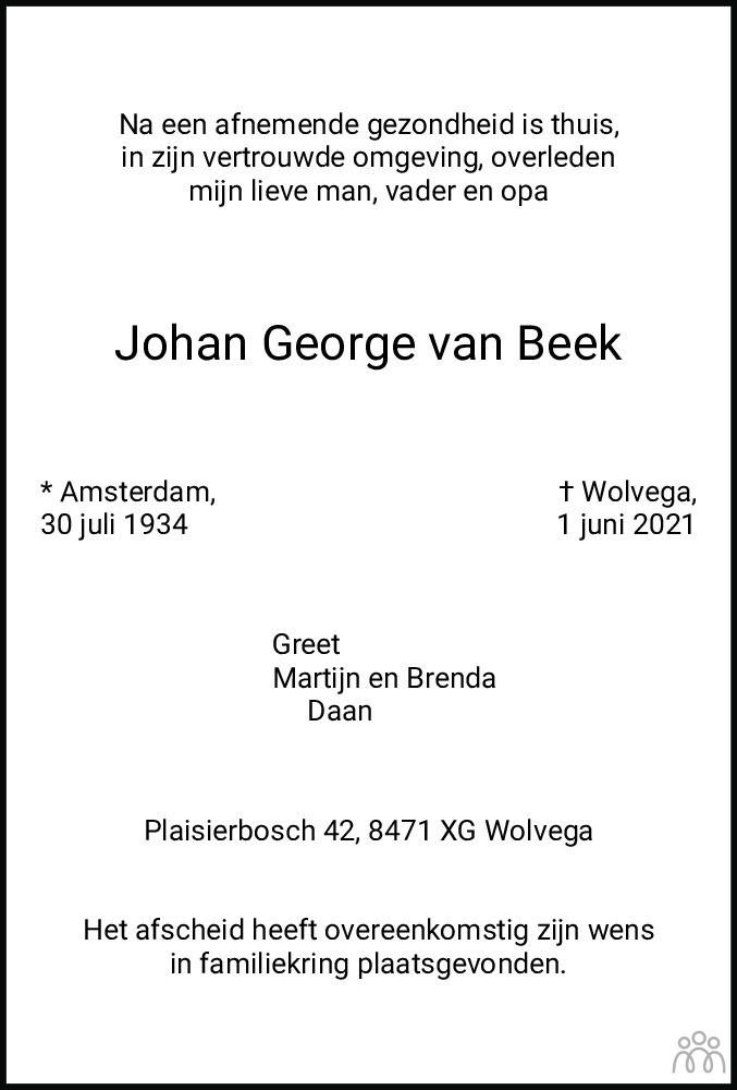 Overlijdensbericht van Johan George van Beek in De Stellingwerf
