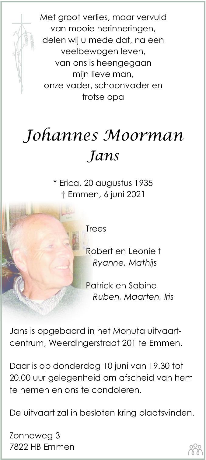 Overlijdensbericht van Johannes (Jans) Moorman in Dagblad van het Noorden