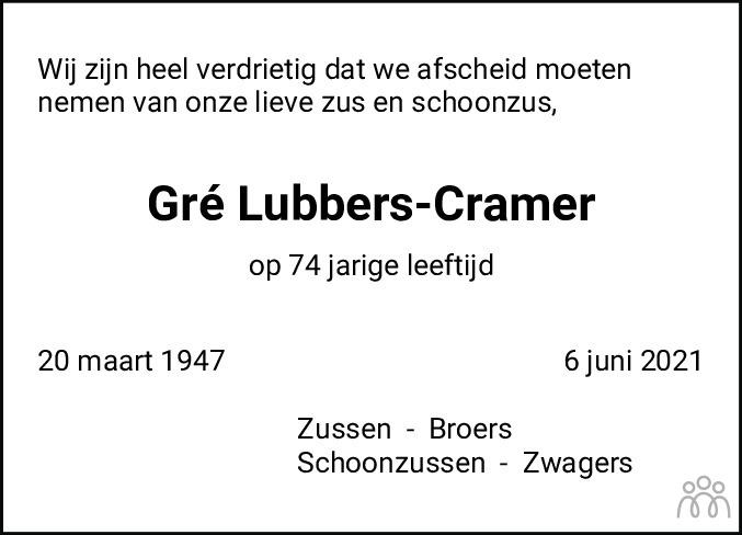 Overlijdensbericht van Gré Lubbers-Cramer in Emmen Nu