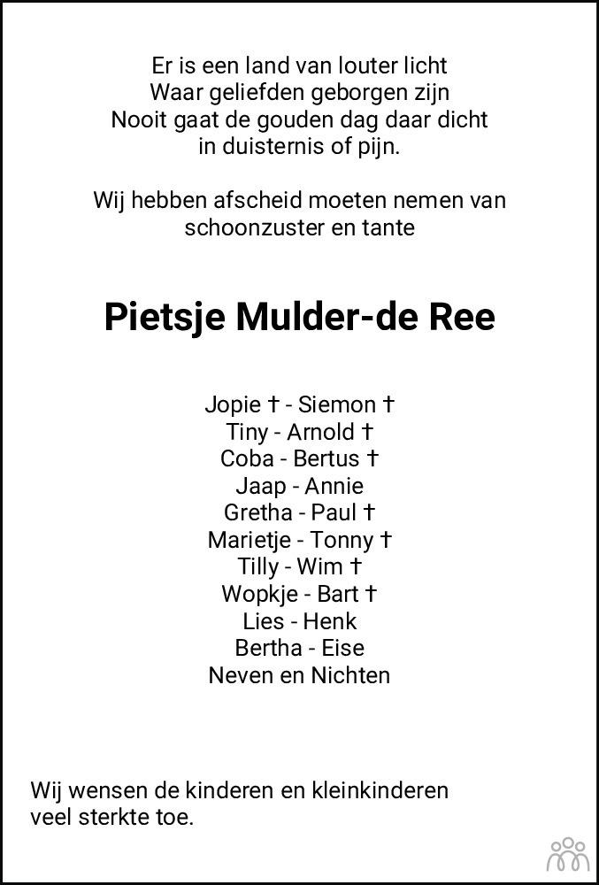 Overlijdensbericht van Pietje Maria Mulder-Ree in De Stellingwerf