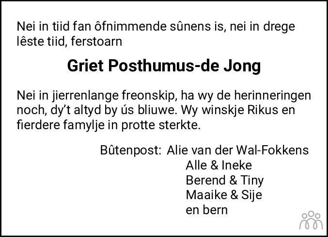 Overlijdensbericht van Grietje Posthumus-de Jong in Nieuwsblad Noordoost-Friesland