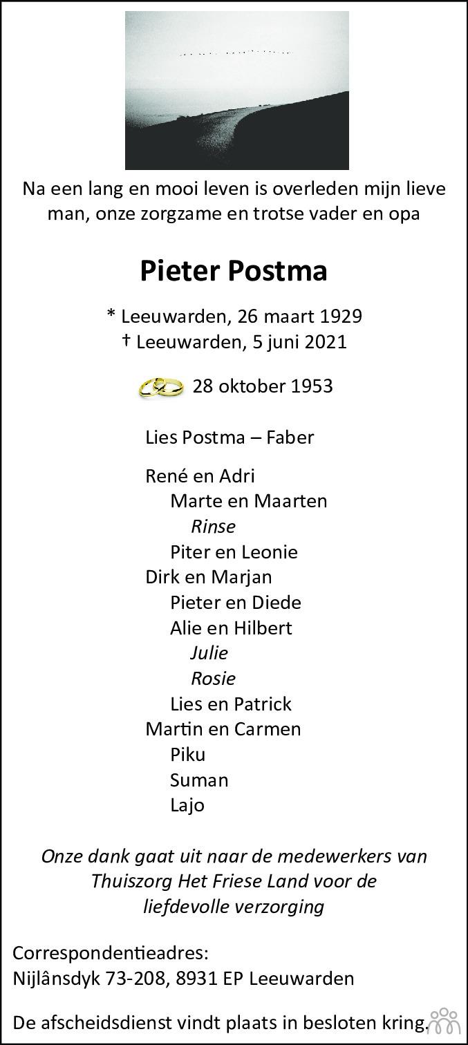 Overlijdensbericht van Pieter Postma in Leeuwarder Courant