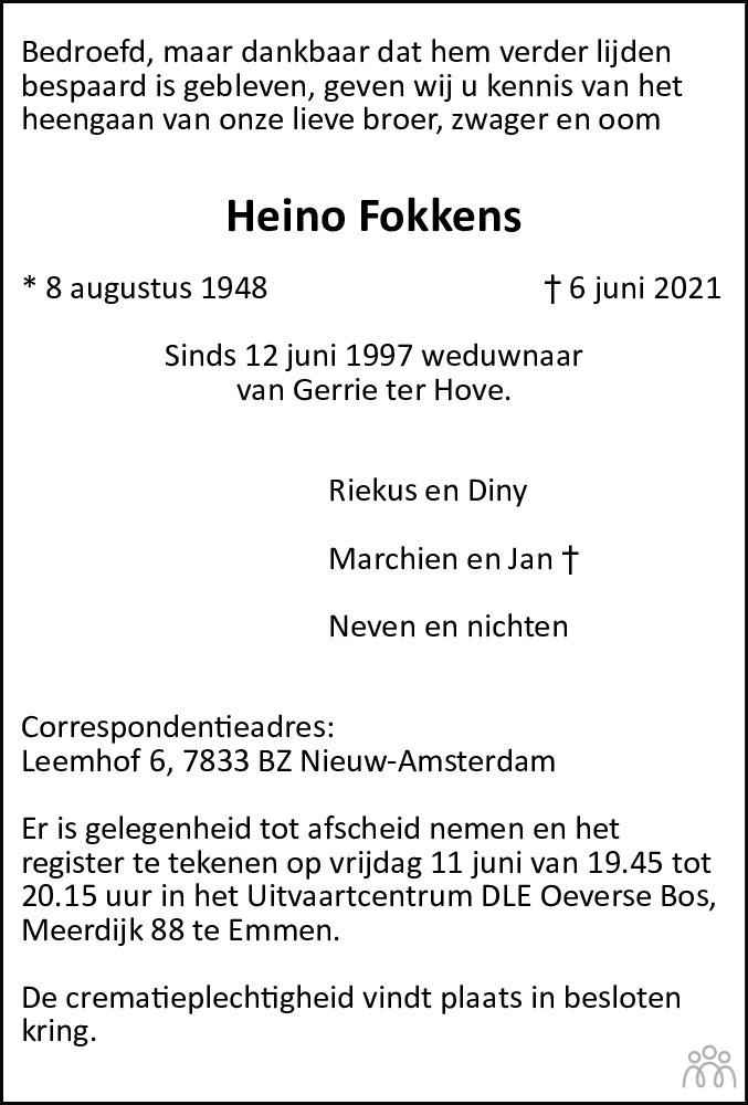 Overlijdensbericht van Heino Fokkens in Dagblad van het Noorden