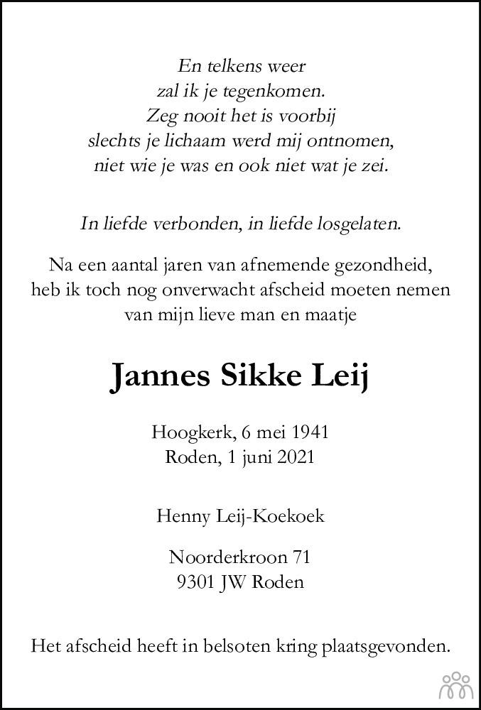 Overlijdensbericht van Jannes Sikke Leij in Dagblad van het Noorden