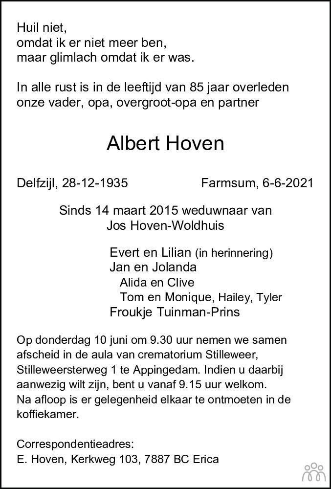 Overlijdensbericht van Albert Hoven in Dagblad van het Noorden