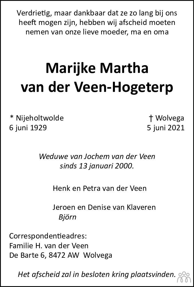 Overlijdensbericht van Marijke Martha van der Veen-Hogeterp in De Stellingwerf