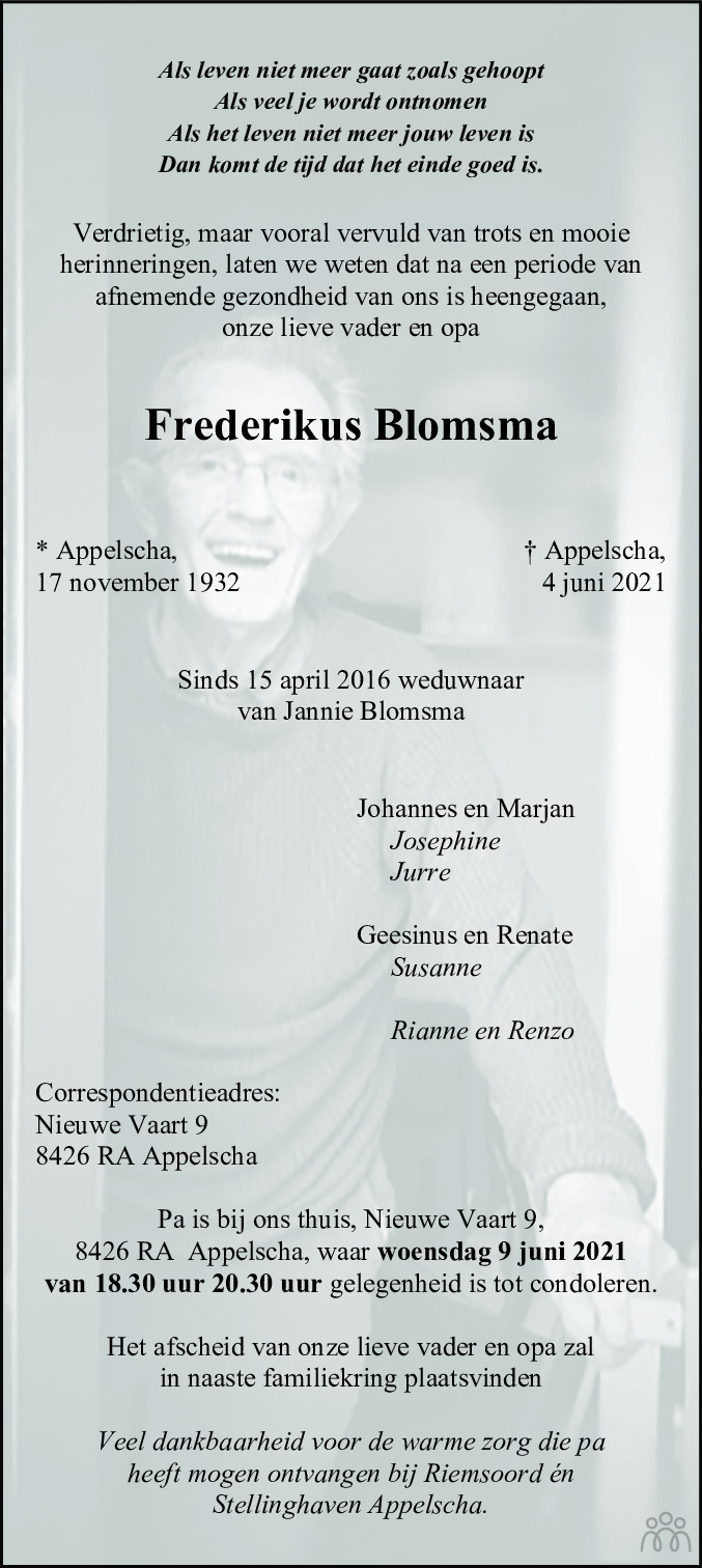 Overlijdensbericht van Frederikus Blomsma in Nieuwe Ooststellingwerver