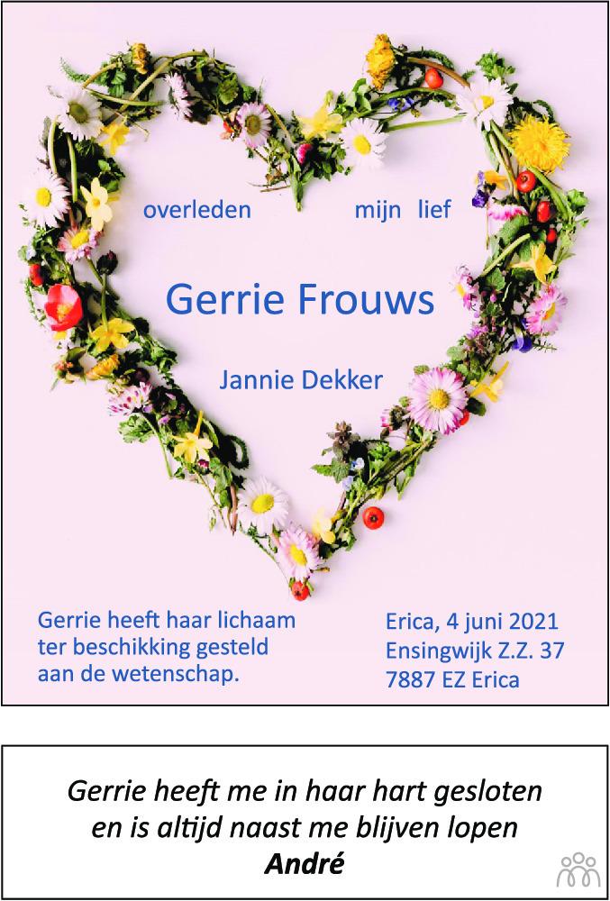 Overlijdensbericht van Gerrie Frouws in Dagblad van het Noorden