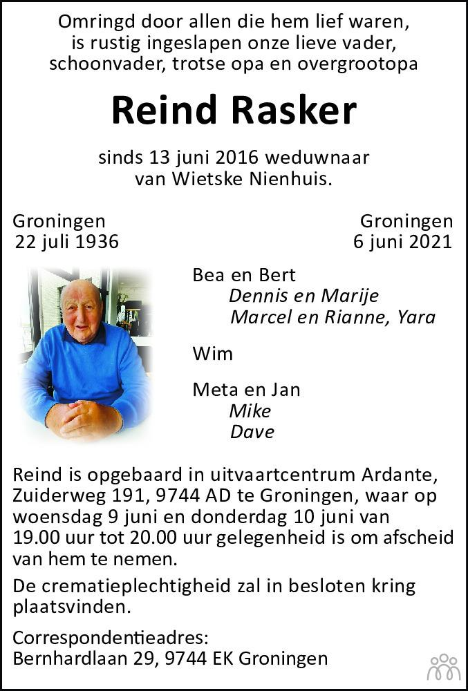 Overlijdensbericht van Reind Rasker in Dagblad van het Noorden