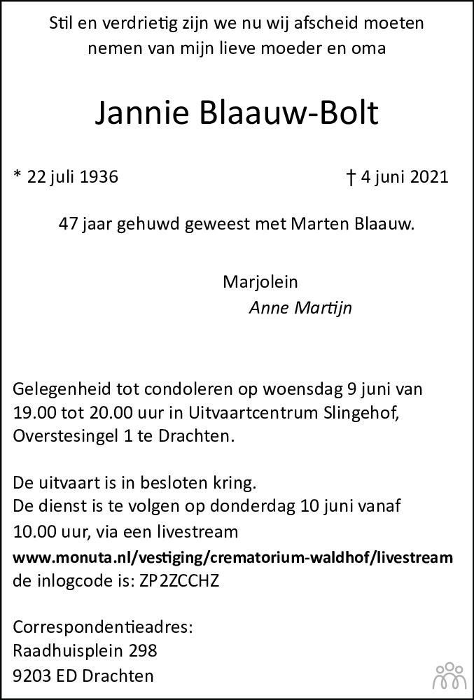 Overlijdensbericht van Jannie Blaauw-Bolt in Leeuwarder Courant