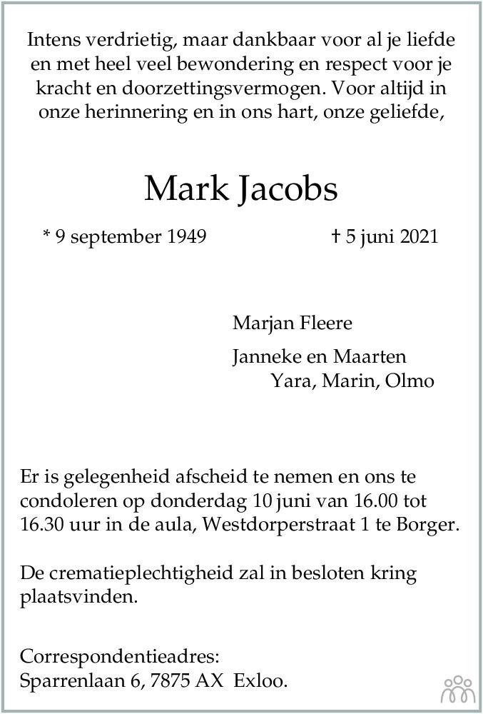 Overlijdensbericht van Mark Jacobs in Dagblad van het Noorden