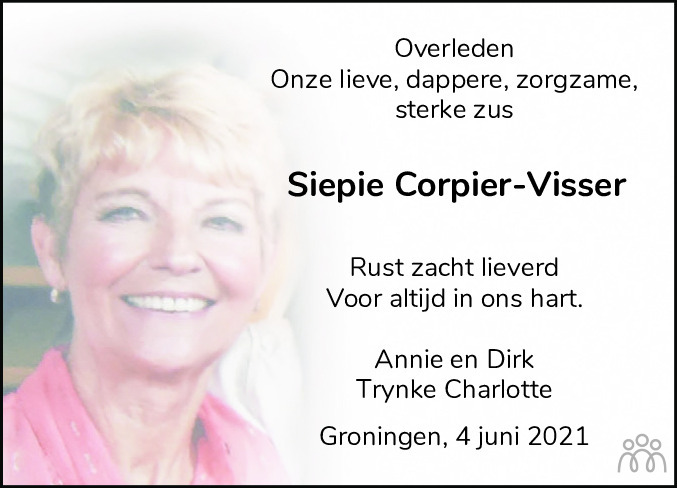 Overlijdensbericht van Siepie Corpier-Visser in Leeuwarder Courant