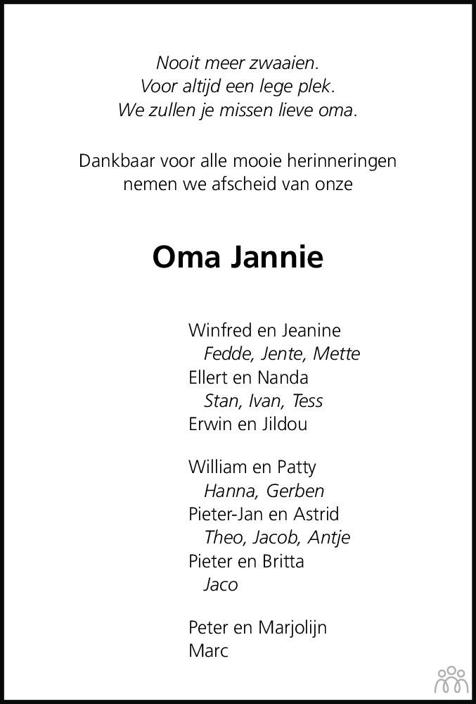 Overlijdensbericht van Janke Kanger-Nagtegaal in Leeuwarder Courant
