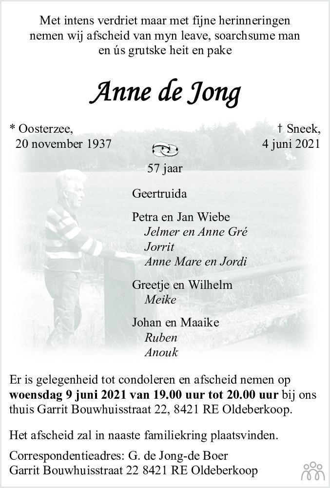 Overlijdensbericht van Anne de Jong in Leeuwarder Courant