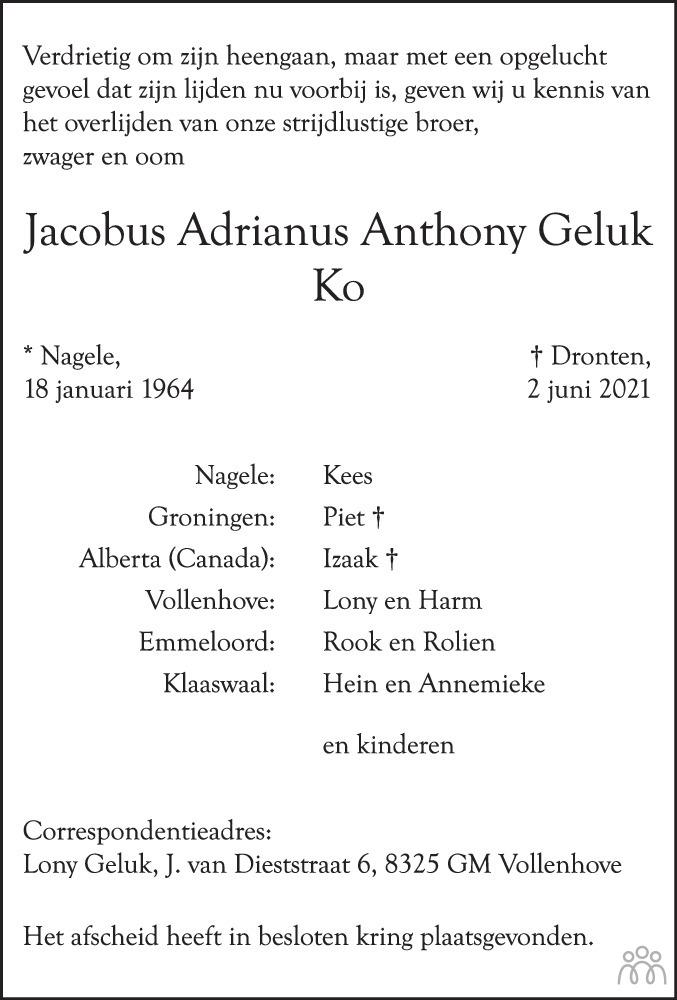 Overlijdensbericht van Jacobus Adrianus Anthony (Ko) Geluk in Noordoostpolder