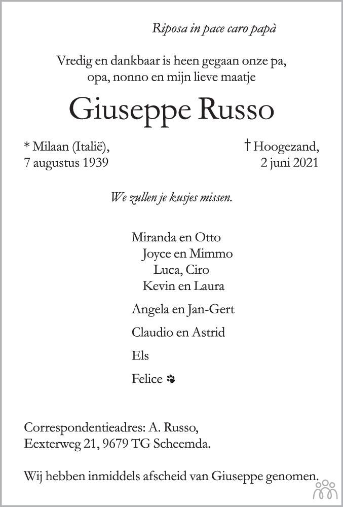 Overlijdensbericht van Giuseppe Russo in HS-krant