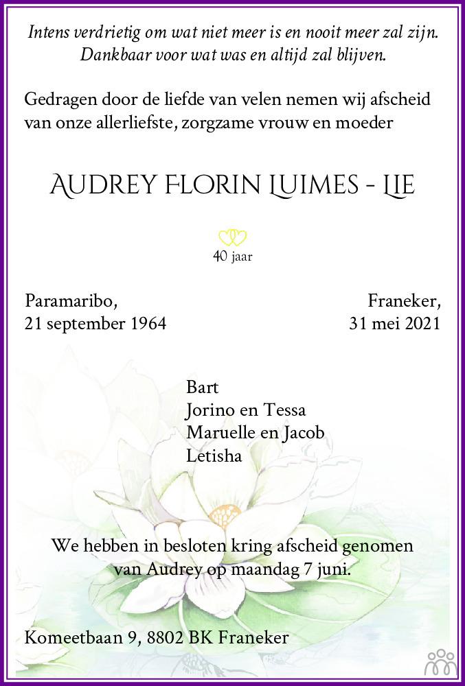Overlijdensbericht van Audrey Florin Luimes-Lie in Franeker Courant