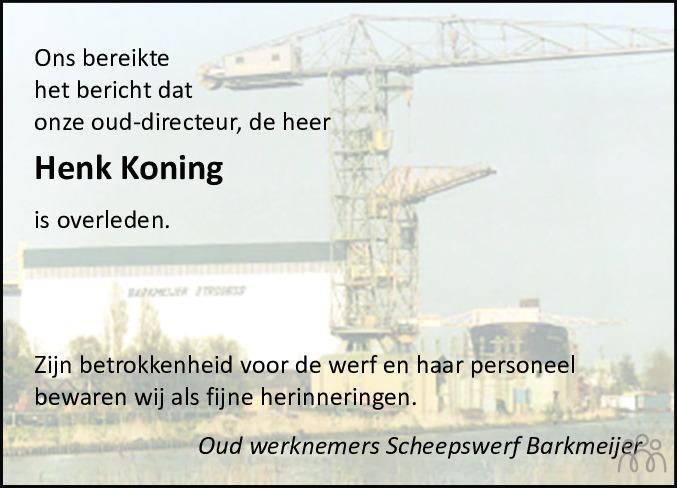 Overlijdensbericht van Henk Koning in De Feanster