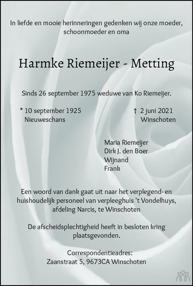 Overlijdensbericht van Harmke Riemeijer-Metting in Dagblad van het Noorden