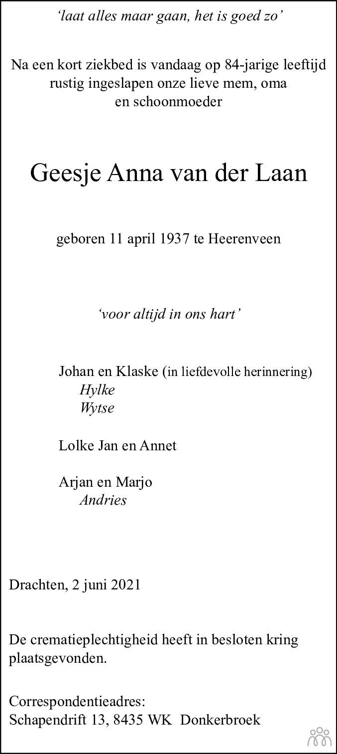 Overlijdensbericht van Geesje Anna van der Laan in Drachtster Courant