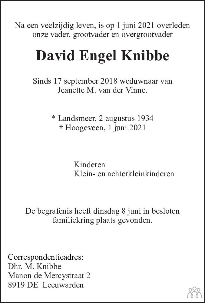 Overlijdensbericht van David Engel Knibbe in Hoogeveensche Courant