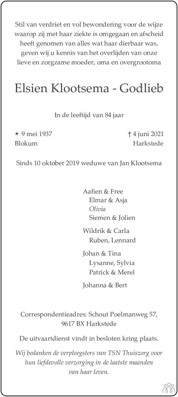 Overlijdensbericht van Elsien Klootsema-Godlieb in Eemsbode/Noorderkrant