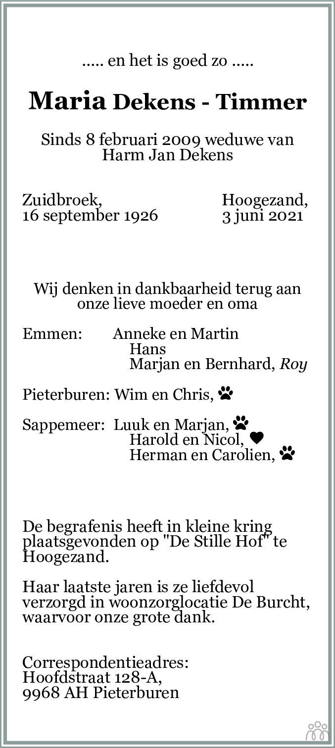 Overlijdensbericht van Maria Dekens-Timmer in HS-krant