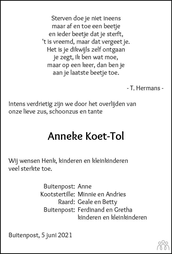 Overlijdensbericht van Anna (Anneke) Koet-Tol in Leeuwarder Courant