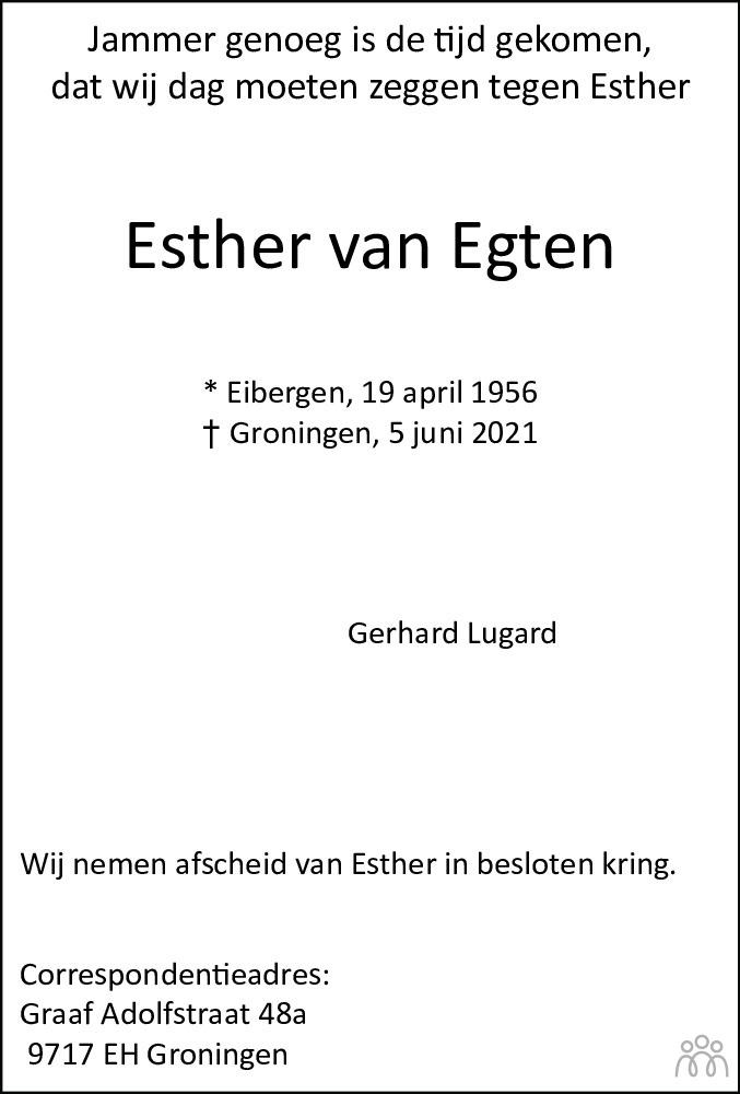 Overlijdensbericht van Esther Lugard-van Egten in Groninger Gezinsbode