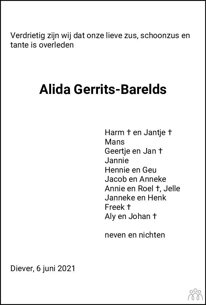 Overlijdensbericht van Alida (Lida) Gerrits-Barelds in Meppeler Courant