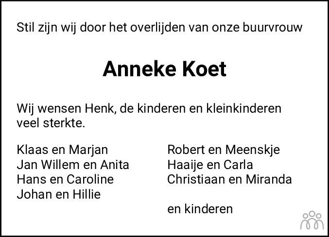 Overlijdensbericht van Anna (Anneke) Koet-Tol in Dockumer Courant