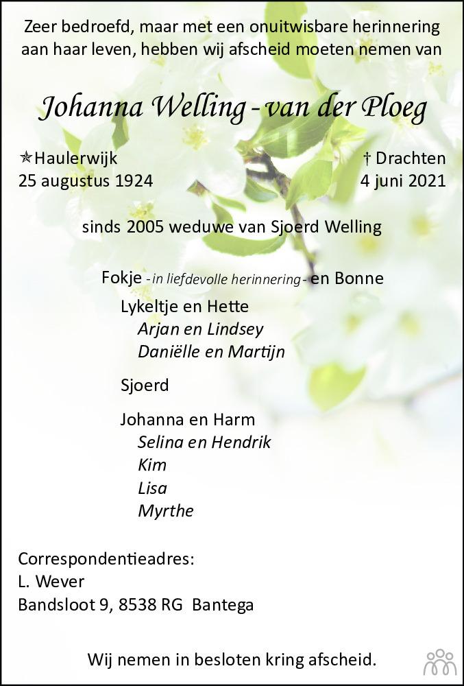 Overlijdensbericht van Johanna Welling-van der Ploeg in Leeuwarder Courant