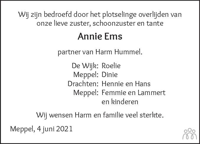 Overlijdensbericht van Annechien (Annie) Ems in Meppeler Courant