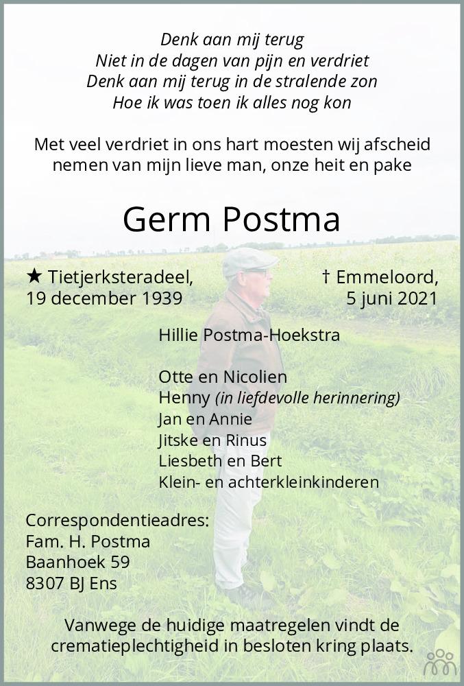 Overlijdensbericht van Germ Postma in Flevopost Dronten