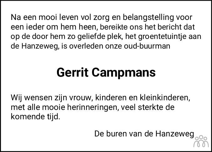 Overlijdensbericht van Gerhardus Hendrikus (Gerrit) Campmans in Flevopost Dronten