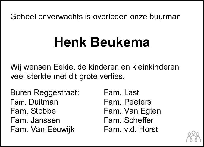 Overlijdensbericht van Hendrik Eltjo (Henk) Beukema in Noordoostpolder