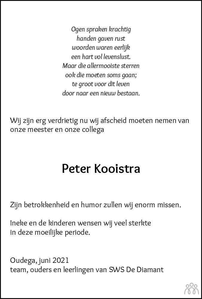 Overlijdensbericht van Peter Kooistra in Drachtster Courant