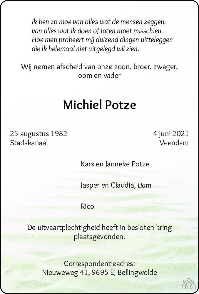 Overlijdensbericht van Michiel Potze in Dagblad van het Noorden