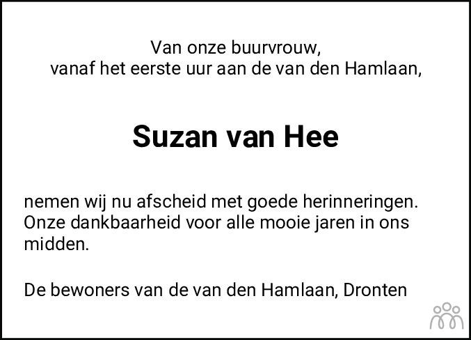 Overlijdensbericht van Suzan van Hee in Flevopost Dronten