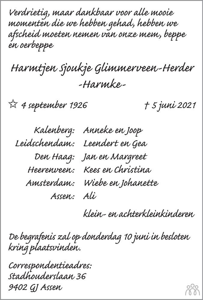 Overlijdensbericht van Harmke (Harmtjen Sjoukje) Glimmerveen-Herder in Leeuwarder Courant