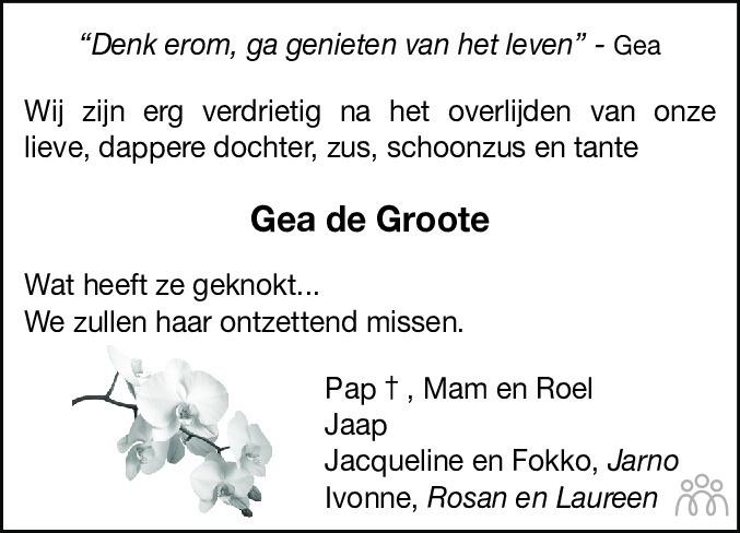 Overlijdensbericht van Gea de Groote in Hoogeveensche Courant