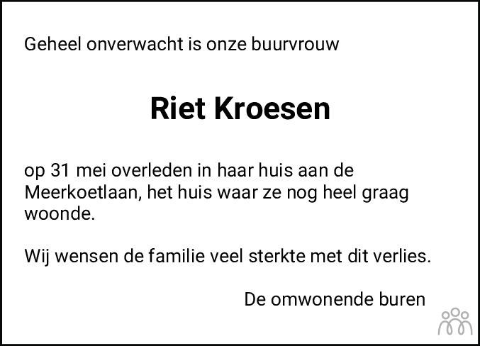 Overlijdensbericht van Riet Kroesen in Hoogeveensche Courant