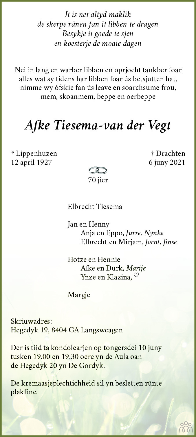 Overlijdensbericht van Afke Tiesema-van der Vegt in Leeuwarder Courant