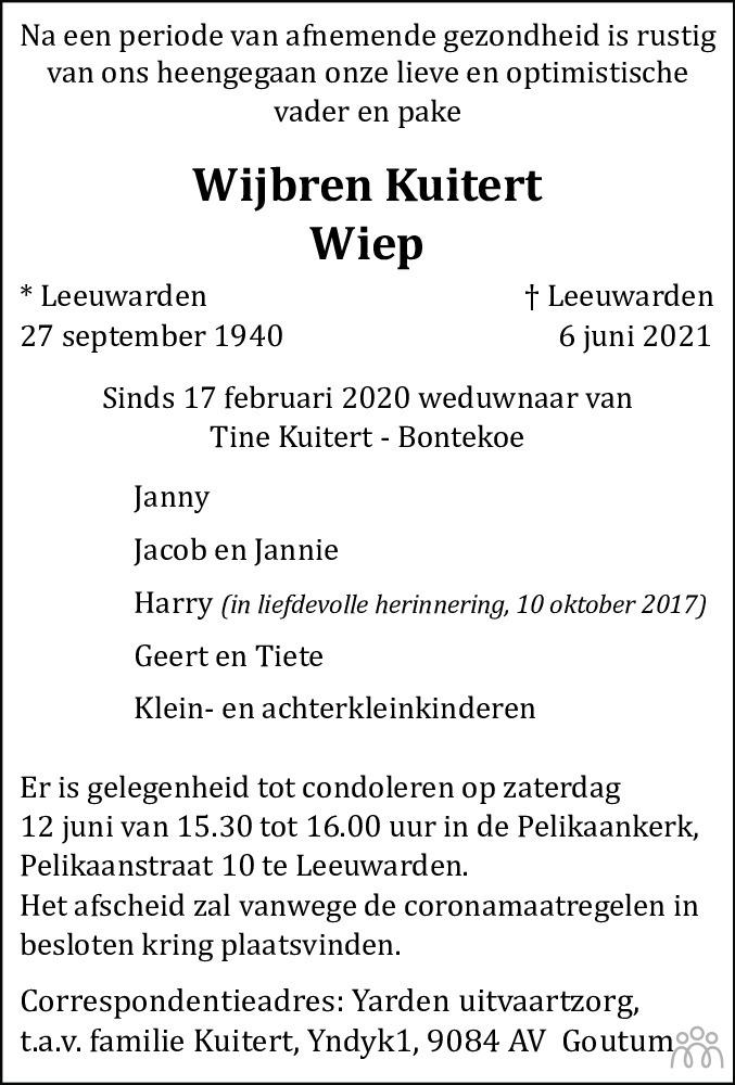 Overlijdensbericht van Wijbren (Wiep) Kuitert in Leeuwarder Courant