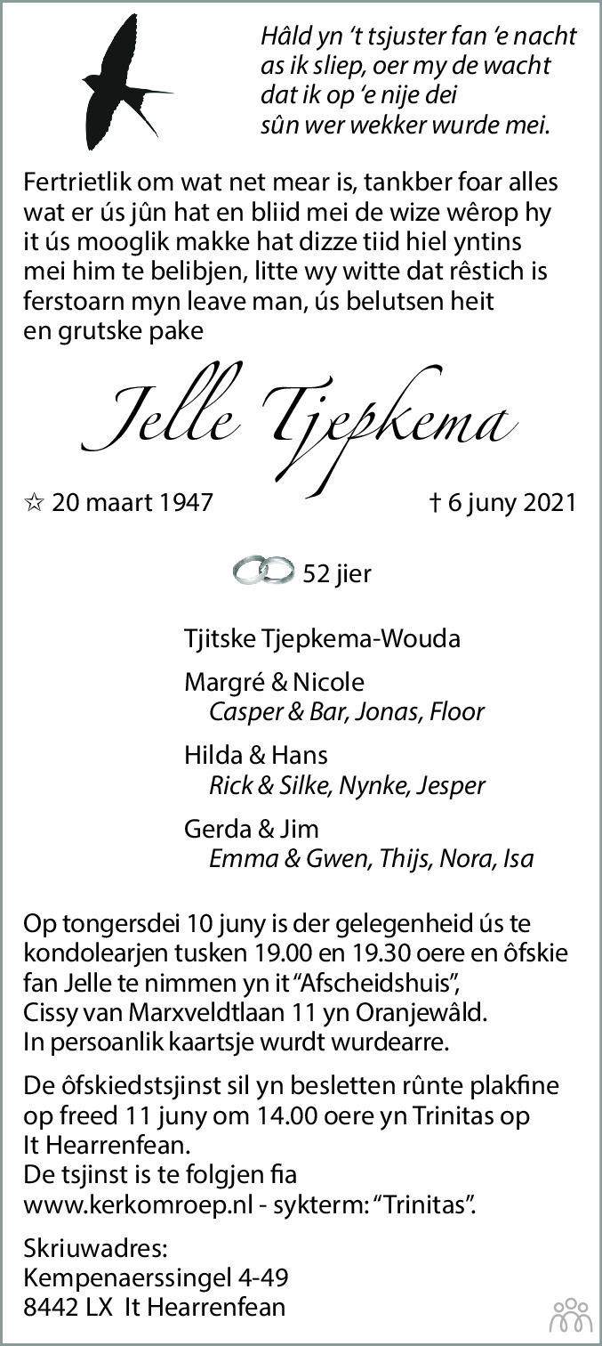 Overlijdensbericht van Jelle Tjepkema in Leeuwarder Courant